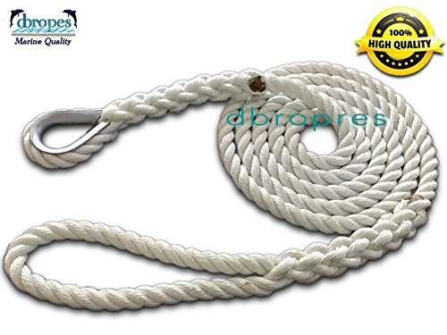 DBROPES 3 Strand Mooring Pendant Line 100% Nylon Rope with Stainless Steel Thimble. Made in USA . (White Nylon, 3/4
