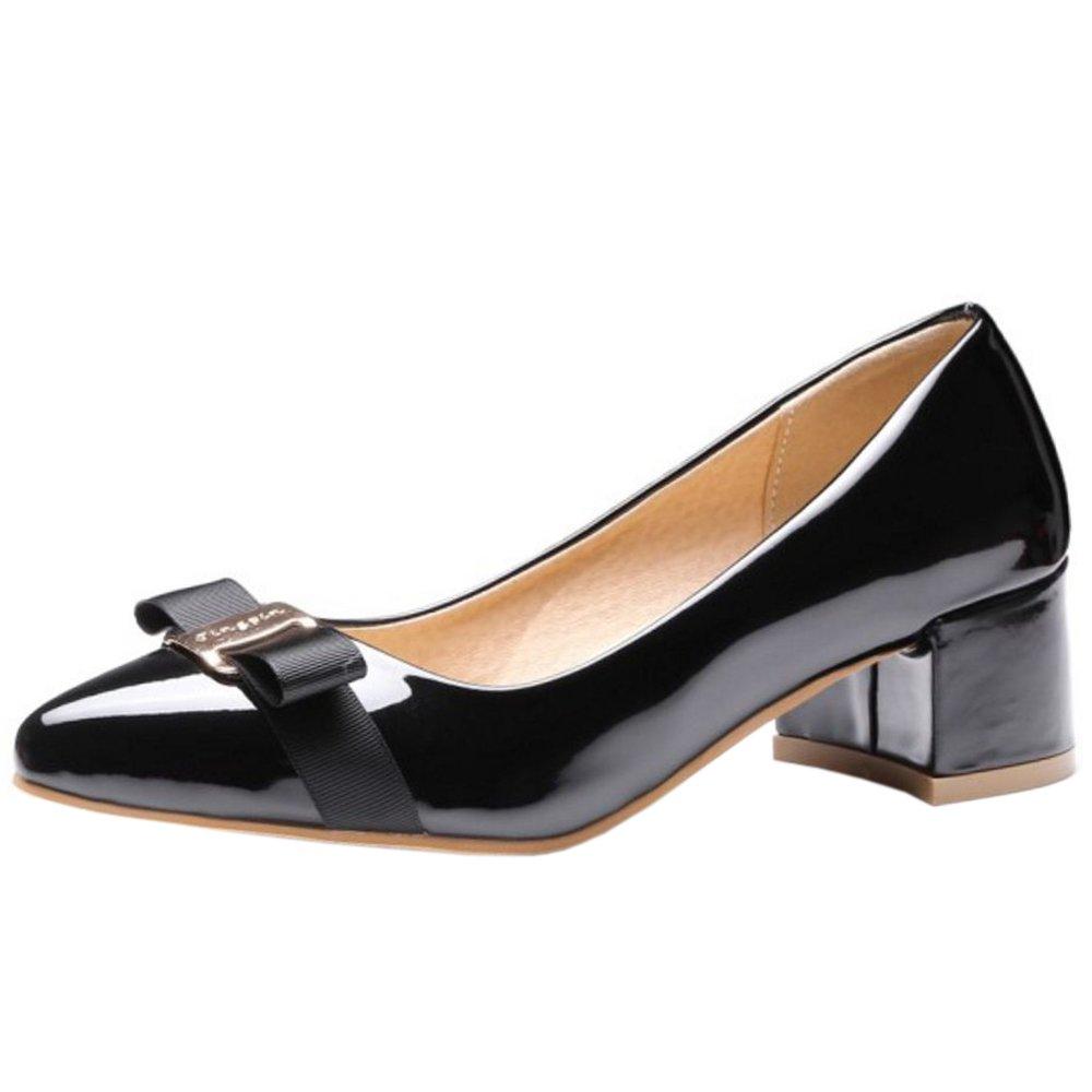 Zanpa Damen Sweet Pumps Mid Heels With Bow44 EU (sole length 28 CM)|Black