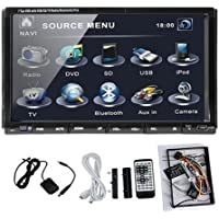 Generic In Dash 2 Two Double Din 7Car DVD Player Stereo Radio Audio Motorized Touchscreen LCD Monitor with DVD/CD/MP3/MP4/USB/SD/AMFM/RDS/Bluetooth and HD:800480 LCD