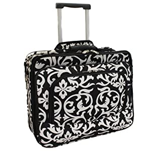 Ladies Damask Rolling Computer Laptop Bag Brief Case — FITS A 13″, 14″, 15″, 16″ OR 17″ LAPTOP (MEASURED CORNER TO CORNER DIAGONALLY)