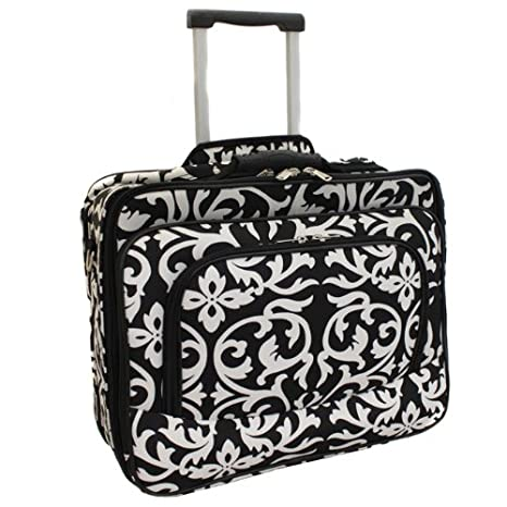 2fa27d1b76d9 Ladies Damask Rolling Computer Laptop Bag Brief Case -- FITS A 13