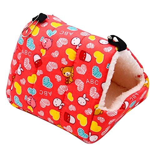 Red Flying Squirrel (Jocestyle Hamster Hammock Warm Plush Cotton Small Animal Hanging Bed House Nest Cage for Rat Hedgehog Rabbit Guinea Pig Squirrel (Red Bear 17x15cm)
