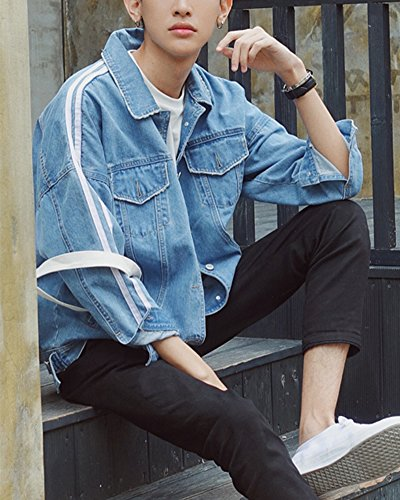 Jacket Denim Lunga Single Giacca Giubbino Jeans Uomo Capispalla Breasted Azzurro Chiaro Outerwear Manica vBvWq8Snr