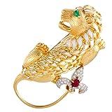 David Webb 18K Yellow Gold and Platinum Diamond, Ruby, Emerald Enamel Large Lion Brooch
