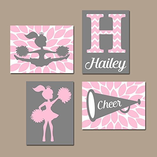 (CHEERLEADER Wall Art CANVAS or Prints Pink Girl Bedroom Wall Decor CHEER Sign Megaphone Personalized Girl Name Nursery Decor Set of)