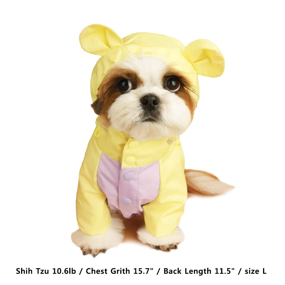 LITTLE COLLIN] Dog Raincoat Waterproof Jumpsuit Reflective Rain Jacket with Hood Yellow SM by LITTLE COLLIN