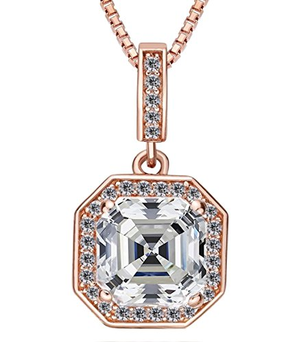 NaNa Silver 7mm center Asscher Cut Halo Pendant with 22