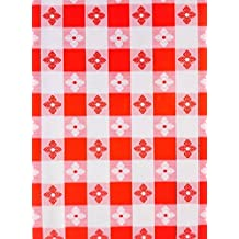 """Red Tavern Check Vinyl Flannel Back Tablecloth - 52"""" x 70"""" Oblong"""