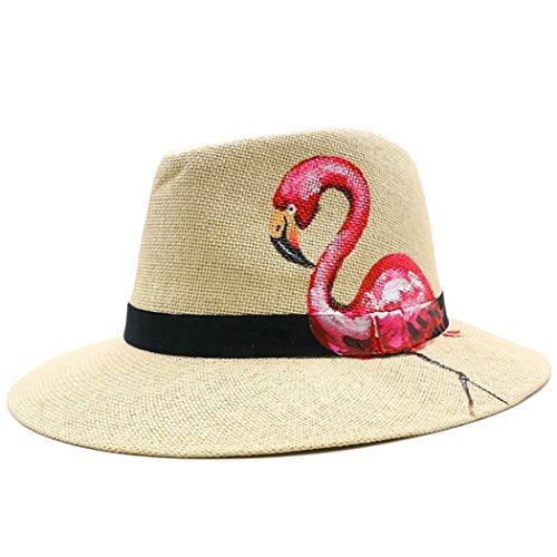 Womens Panama Straw Hat Folded Bucket Handmade Flamingo Unicorn Sun Hats (Folded Handmade)