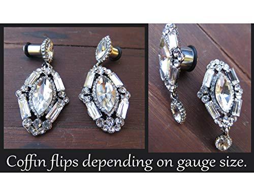 (Crystal Casket Coffin dark spooky macabre Wedding EAR TUNNEL PLUGS Earrings diamond rhinestones - 4g, 2g, 0g, 00g aka 5mm, 6mm, 8mm, 10mm)