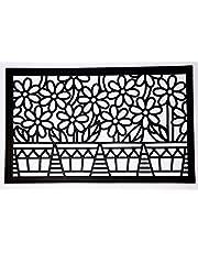 برستيج - سجادة باب PVC بتصميم زهور - أسود، 80×45 سم