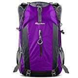 OutdoorMaster Hiking Backpack 50L - Hiking & Travel Backpack w/Waterproof Rain Cover & Laptop Compartment - for Hiking, Traveling & Camping - Purple