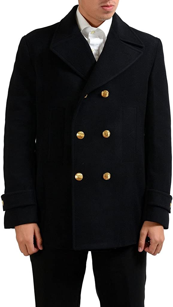 Versace Collection Mens Black Wool Double Breasted Peacoat