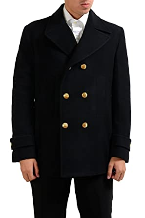 cd7d7a3a Versace Collection Men's Black Wool Double Breasted Peacoat