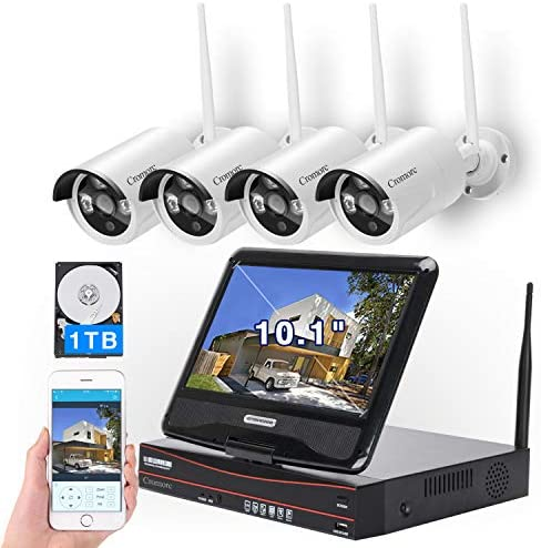 [8CH,Expandable] All in one with 10.1″ Monitor Wireless Security Camera System, Cromorc Home Business CCTV Surveillance 1080P NVR, 4pcs 3MP Indoor Outdoor Night Vision One-Way Audio Camera,1TB HDD