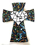 Mexican Tile Talavera Cross Mosaic, White Heart with Blue and Yellow Multi colored Ceramic tile