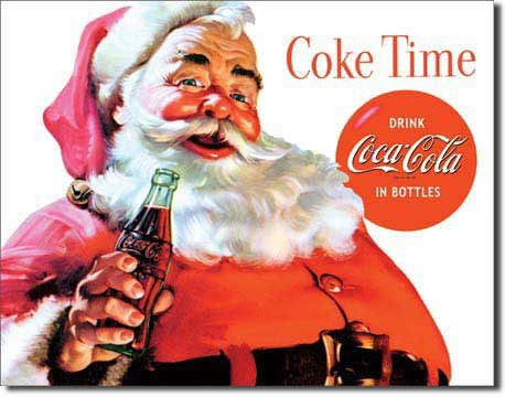 Coca Cola Coke Santa Claus Christmas Retro Vintage Tin Sign