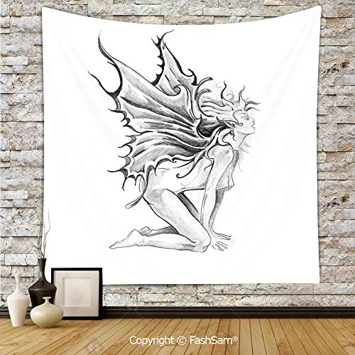 FashSam Tapestry Wall Hanging Artistic Pencil Drawing Art Print Nude Fairy Opening its Angel Wings Tapestries Dorm Living Room Bedroom(W39xL59)]()