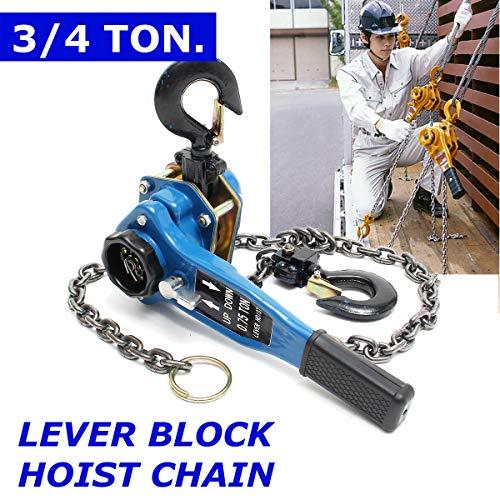 Blue 3/4 Ton Lever Block Chain Hoist Ratchet Type Come Along Puller Lifter Safet