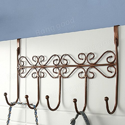 Bathroom Storage & Organisation Robe Hooks - Style Iron Back Door Hanger Hook With 5 Hook 3 Colors - Bronze -1x Iron Art Back Door Hanger Hook Details Pictures ;