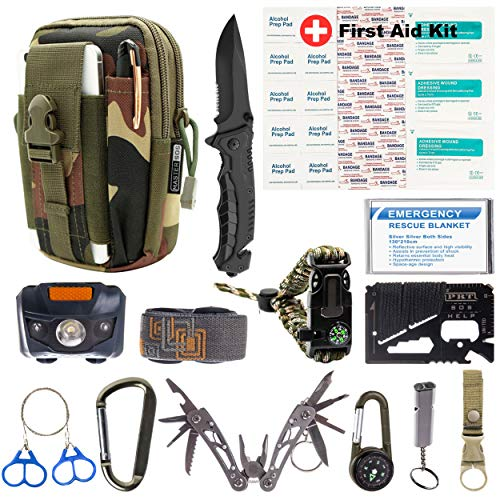 MASTER SOS Survival Emergency Kit - Survival Gear for Outdoor, Hiking and Camping SOS Survival Kit with Emergency Blanket, Headlight, Military Knife, Compass, Wire Saw, Saber Card