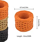EOOUT 600Ft Raffia Paper Ribbon - 3 Rolls Orange Black Kraft Raffia Ribbon, 200Ft Each Roll for Halloween Gift Wrap