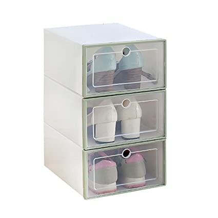 Shoe Storage Boxes 10 Pack Foldable Stackable Containers Clear Home Organizer