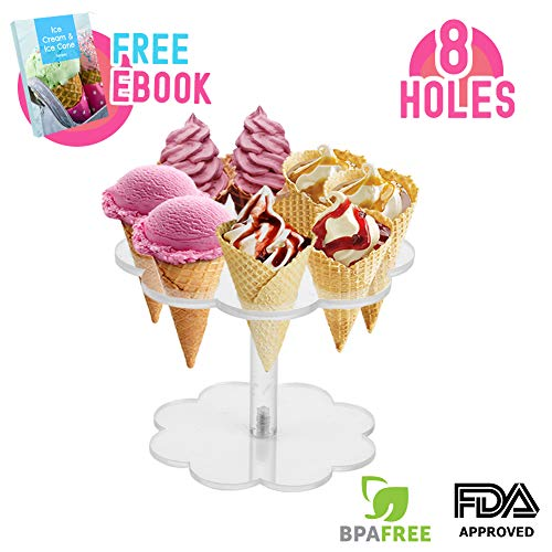 - Ice Cream Cone Holder Stand with 8 Holes Capacity, Clear Acrylic Waffle Cone Holder for Mini Ice Cream Cones Snow Cone Hand Roll Sushi Popcorn Sweets Savory, Ice Cream Recipe Ebook Included