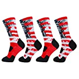 LIN Print Novelty Crew Cushion Basketball Athletic Sports Outdoor Socks 3,4 Packs