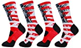 LIN 4 Pack Print Socks Cushion Basketball Athletic Sports Outdoor Socks One Size Fit Most American Flag Socks