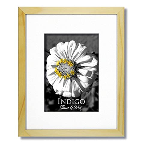 One 16x20 Natural Light Wood Frame and Glass with Single White Mat for 12x16 (1) - Frame One Light