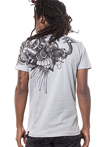 Tribal Tattoo T-shirt (Steampunk Ostrich T Shirt For Men - 100% Cotton Tee Regular Fit - Street Wear Clothing - in Grey -)