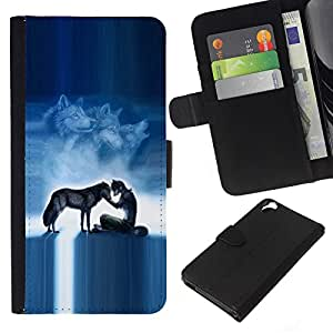 All Phone Most Case / Oferta Especial Cáscara Funda de cuero Monedero Cubierta de proteccion Caso / Wallet Case for HTC Desire 820 // Werewolf Pack Wolf Blue Nigh Moon Sky