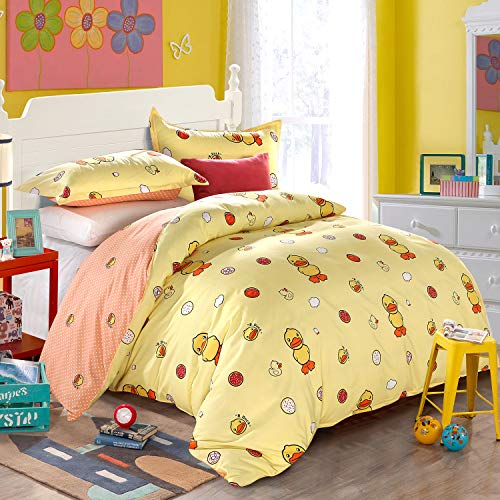 (LAMEJOR Duvet Cover Sets Queen Size Yellow Duck Pattern Bedding Set Bed Comforter Cover Set(1 Duvet Cover+2 Pillowcases))