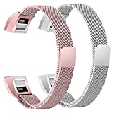 bayite For Fitbit Alta HR and Alta Bands Pack of 2, Replacement Milanese Loop Stainless Steel Metal Bands Women Men, Silver and Rose Pink 6.7'' - 8.1''