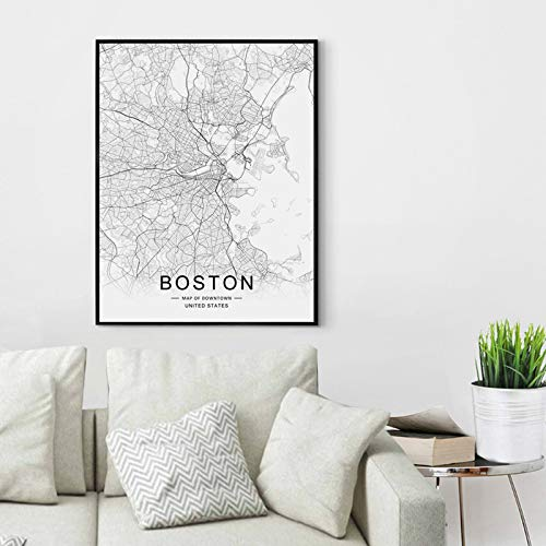 Boston Street Map Print Boston Map Decor City Road Art Black and White City Map Office Wall Hanging Boston City Downtown Map Wall Art 8x10 inch No Frame