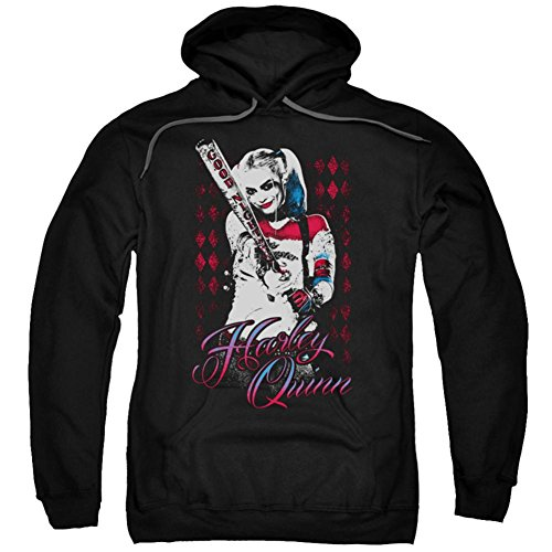Hoodie: Suicide Squad- Distressed Harley Quinn At Bat Pullover Hoodie Size XL -