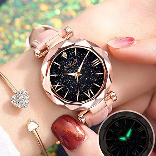 Starry Sky Wrist Women Watch 36 Mm Classic Elegant Watch with Leather Band Watch,Fluorescence, Round (Pink - A03)