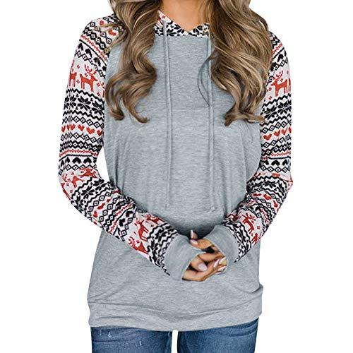 Sunhusing Ladies Christmas Print Long Sleeve Lace-Up Hooded Drawstring Sweater Sweatshirt Hooded Pullover Top -