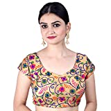 Chandrakala Women's Party Wear Bollywood Readymade MultiWhite Saree Blouse Padded Resham Work Choli (B112MUL1)