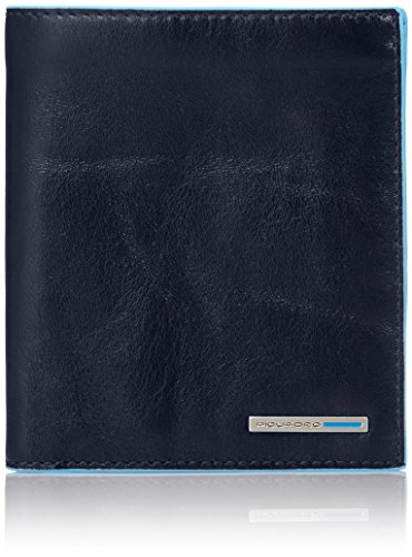 Piquadro Vertical Men's Wallet with Banknote Compartments and Credit Card Slots, Dark Blue, One Size by Piquadro