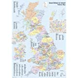 British Isles UK Great Britain Map Large Educational Poster 61 by 91.5cm