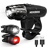 LED Bike Light Hoicmoic USB Rechargeable Cycle Light IP65 Waterproof Bright LED Bicycle Front and Rear Lights for Kids Men Women Safe Cycling