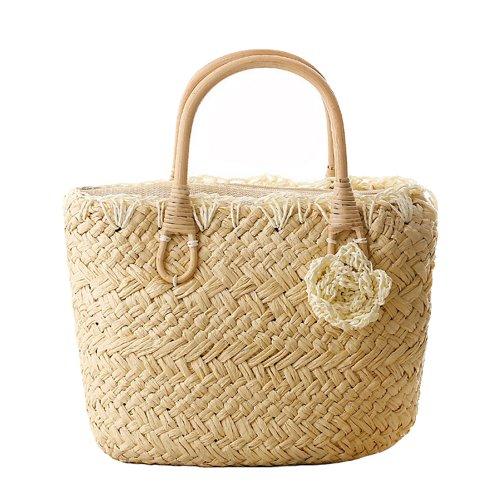 Tonwhar® Handmade Cute Small Beach Tote Handbag Straw Woven Purse (Straw Purse Tote)