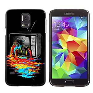 Licase Hard Protective Case Skin Cover for Samsung Galaxy S5 - Cool TV Colors Art