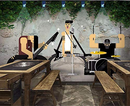 Wanghan 3D Wallpaper Custom Wallpaper Retro Guitar Singer Tv Background Living Room Bedroom Wall Mural-200Cmx140Cm ()