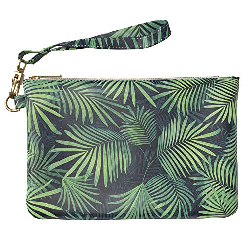 Lex Altern Makeup Bag 9.5 x 6 inch Palm Exotic Coconut Leaves Branch Tropical Cosmetic Travel PU Leather Case Toiletry Women Zipper Organizer Bathroom Wristband Girls Accessories Print Purse Pouch