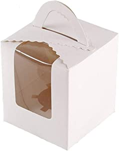 50 Pcs Single White Cupcakes Containers Gift Boxes with Window Inserts Handle for Wedding Candy Boxes