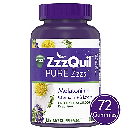Vicks ZzzQuil Pure Zzzs Melatonin Sleep Aid Gummies with Chamomile, Lavender and Valerian Root, Natural Flavor, 72 ct