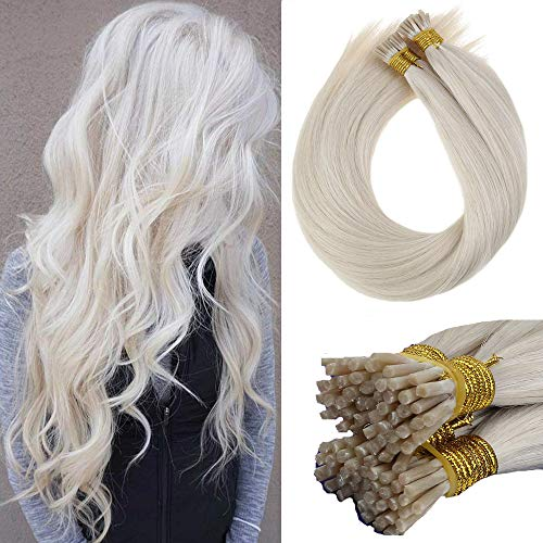 [Hot]LaaVoo 22inch Cold Fusion Pre Bonded Keratin I tips Human Hair Extensions in Platinum Blonde(#60) No Tangle No Shedding Soft Real Human Hair Extensions 1g/s 50g Per Pack